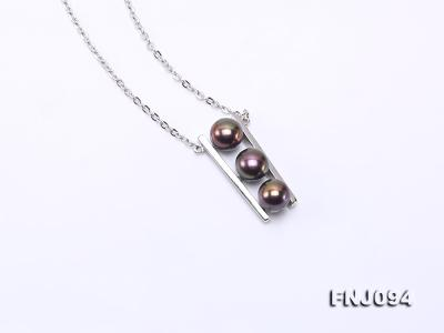 6.5mm Black Pearl Pendant Necklace with Sterling Silver Chain FNJ094 Image 3