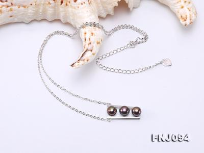 6.5mm Black Pearl Pendant Necklace with Sterling Silver Chain FNJ094 Image 4