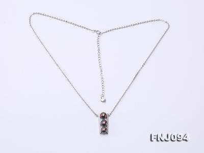 6.5mm Black Pearl Pendant Necklace with Sterling Silver Chain FNJ094 Image 7