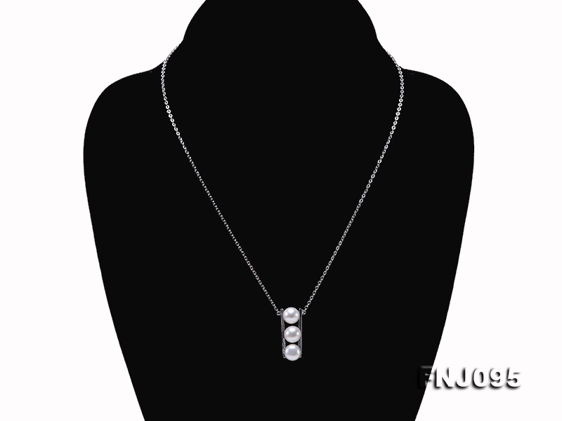 7.5mm White Pearl Pendant Necklace with Sterling Silver Chain big Image 2