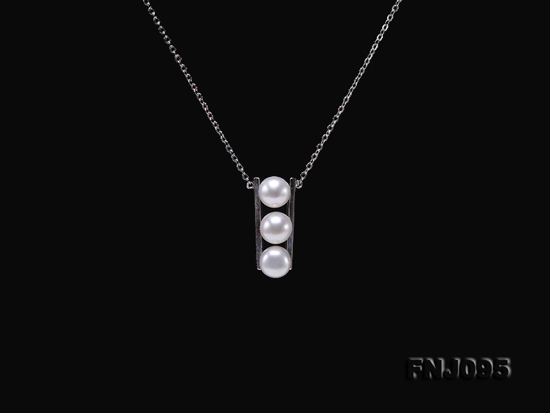 7.5mm White Pearl Pendant Necklace with Sterling Silver Chain big Image 4