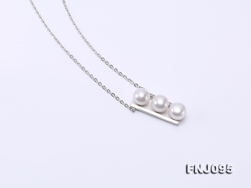 7.5mm White Pearl Pendant Necklace with Sterling Silver Chain big Image 6