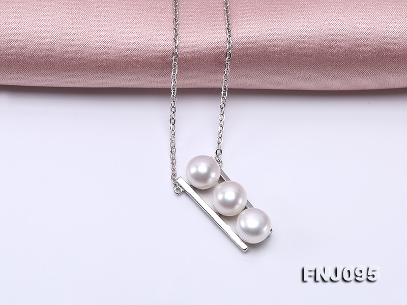 7.5mm White Pearl Pendant Necklace with Sterling Silver Chain big Image 7