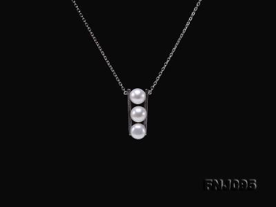 7.5mm White Pearl Pendant Necklace with Sterling Silver Chain FNJ095 Image 4