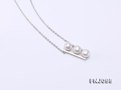 7.5mm White Pearl Pendant Necklace with Sterling Silver Chain FNJ095 Image 6