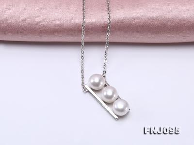 7.5mm White Pearl Pendant Necklace with Sterling Silver Chain FNJ095 Image 7