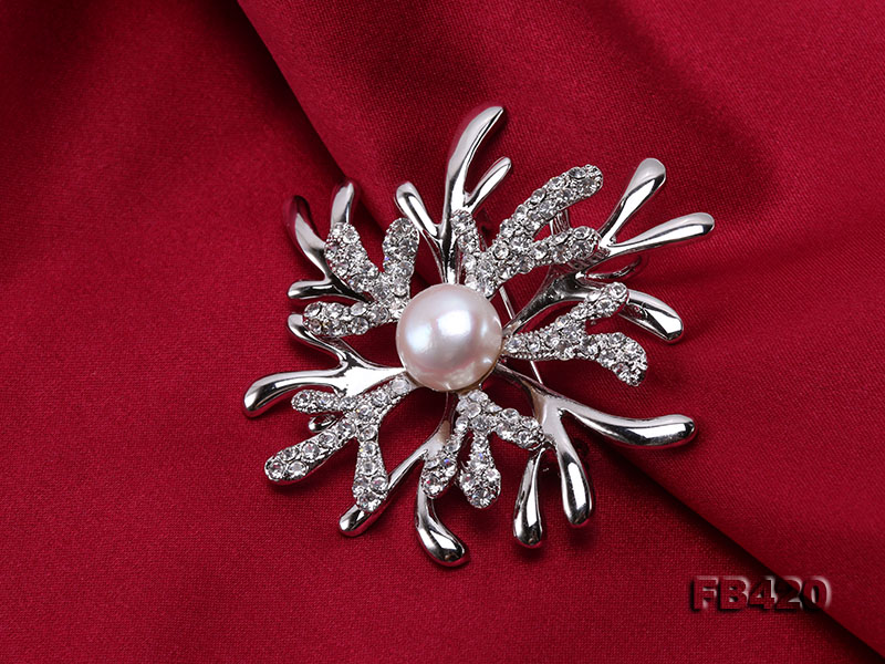 11mm White Freshwater Pearl Gold-plated Brooches with Shiny Zircons big Image 6