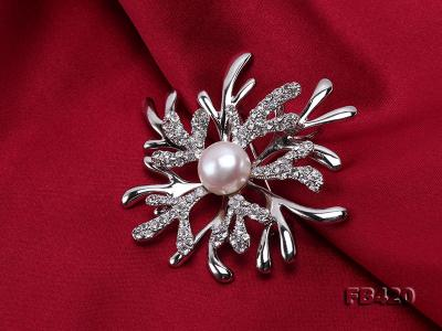 11mm White Freshwater Pearl Gold-plated Brooches with Shiny Zircons FB420 Image 6