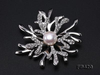 11mm White Freshwater Pearl Gold-plated Brooches with Shiny Zircons FB420 Image 9