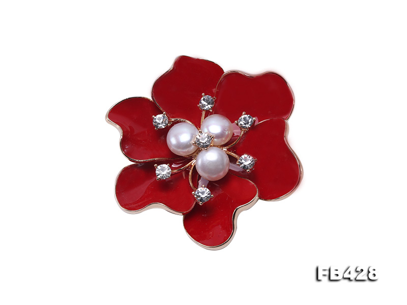 6.5mm Natural Freshwater Pearl Flower-shaped Gold Plated  Brooches  big Image 1