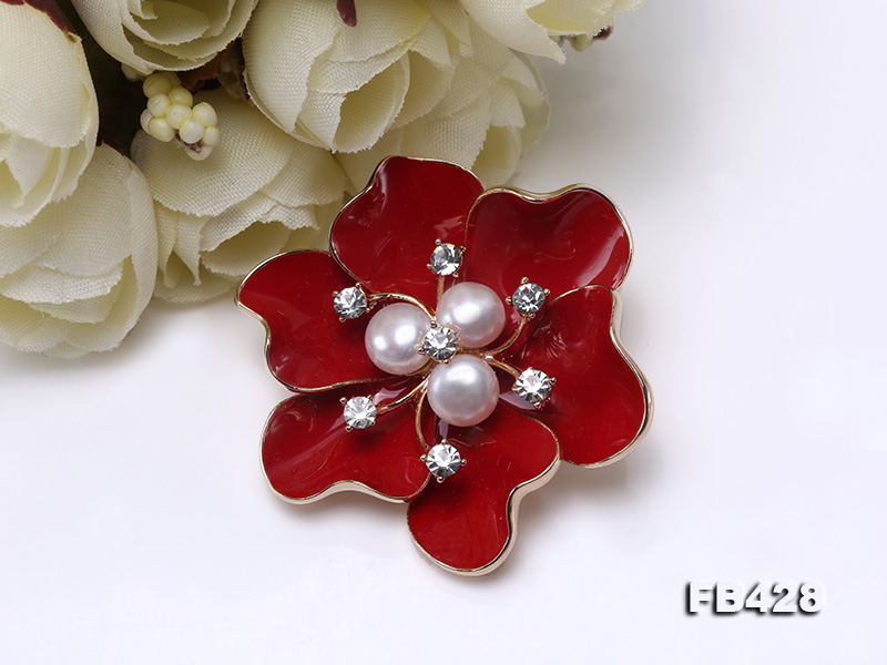 6.5mm Natural Freshwater Pearl Flower-shaped Gold Plated  Brooches  big Image 3