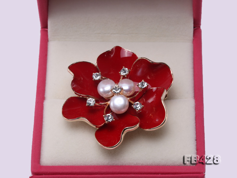 6.5mm Natural Freshwater Pearl Flower-shaped Gold Plated  Brooches  big Image 4