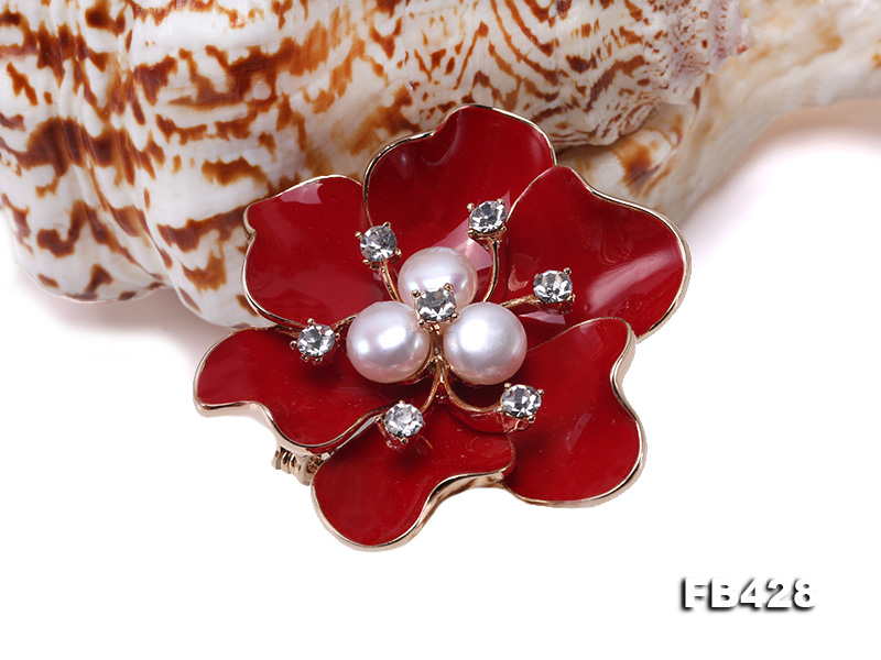 6.5mm Natural Freshwater Pearl Flower-shaped Gold Plated  Brooches  big Image 5