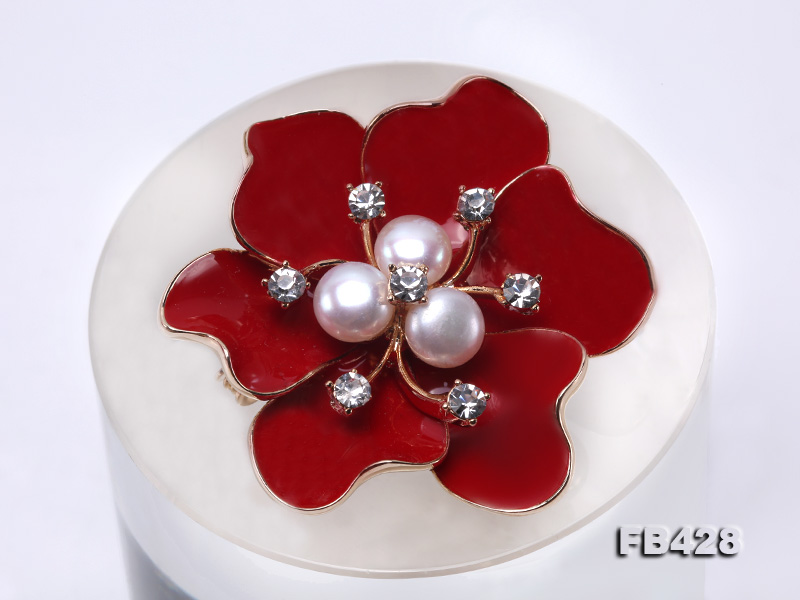 6.5mm Natural Freshwater Pearl Flower-shaped Gold Plated  Brooches  big Image 6