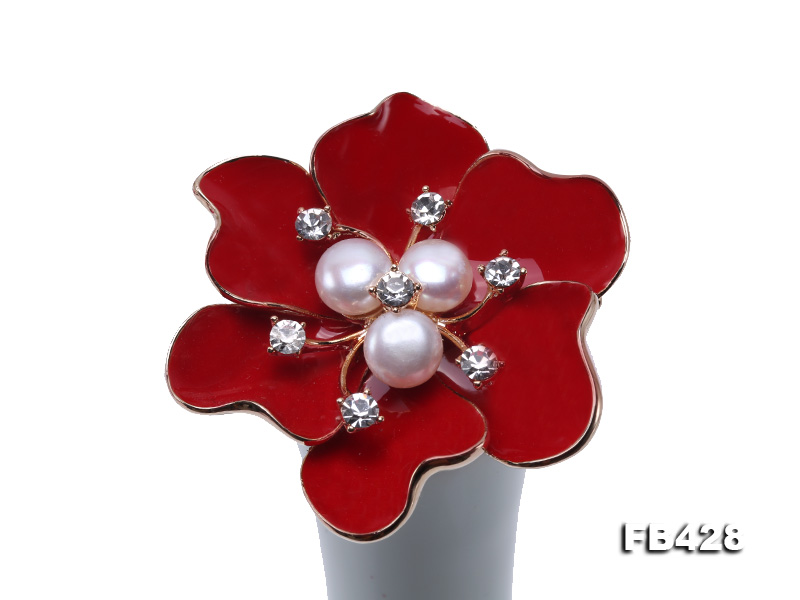 6.5mm Natural Freshwater Pearl Flower-shaped Gold Plated  Brooches  big Image 7