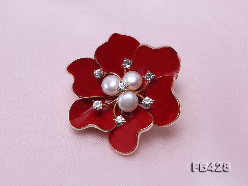 6.5mm Natural Freshwater Pearl Flower-shaped Gold Plated  Brooches  big Image 8