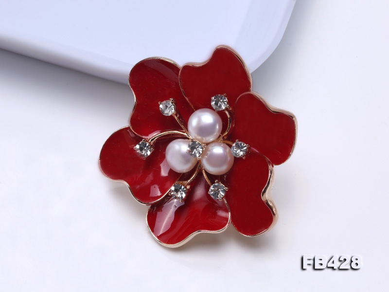 6.5mm Natural Freshwater Pearl Flower-shaped Gold Plated  Brooches  big Image 10