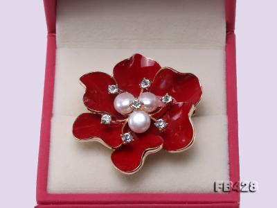 6.5mm Natural Freshwater Pearl Flower-shaped Gold Plated  Brooches  FB428 Image 4