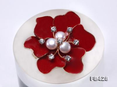 6.5mm Natural Freshwater Pearl Flower-shaped Gold Plated  Brooches  FB428 Image 6