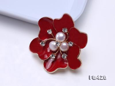 6.5mm Natural Freshwater Pearl Flower-shaped Gold Plated  Brooches  FB428 Image 10