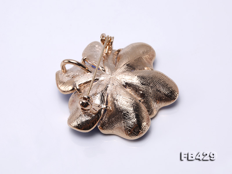 6.5mm Natural Freshwater Pearl Flower-shaped Gold Plated  Brooches Blue big Image 2