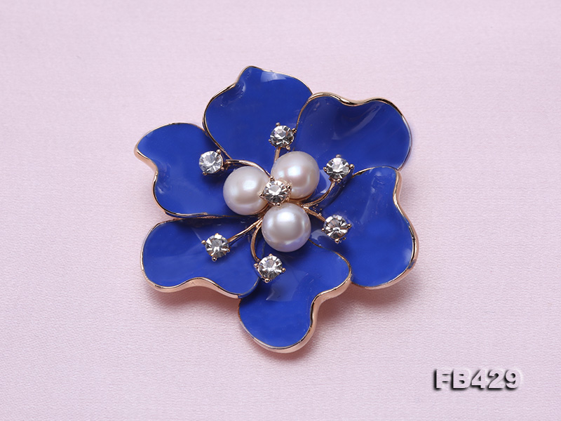 6.5mm Natural Freshwater Pearl Flower-shaped Gold Plated  Brooches Blue big Image 3