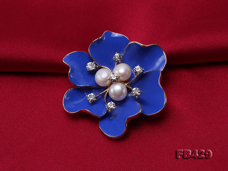 6.5mm Natural Freshwater Pearl Flower-shaped Gold Plated  Brooches Blue big Image 4