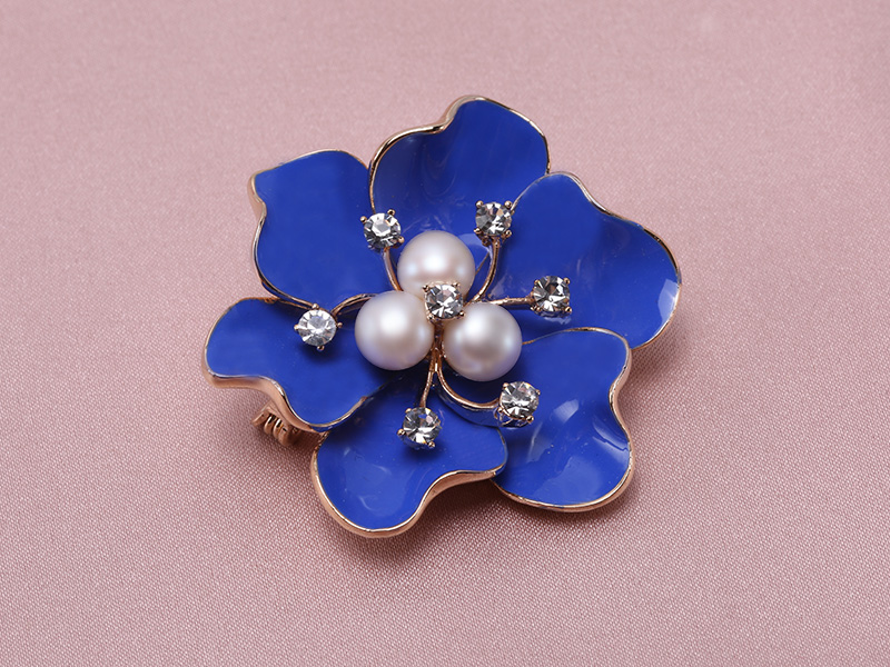 6.5mm Natural Freshwater Pearl Flower-shaped Gold Plated  Brooches Blue big Image 5