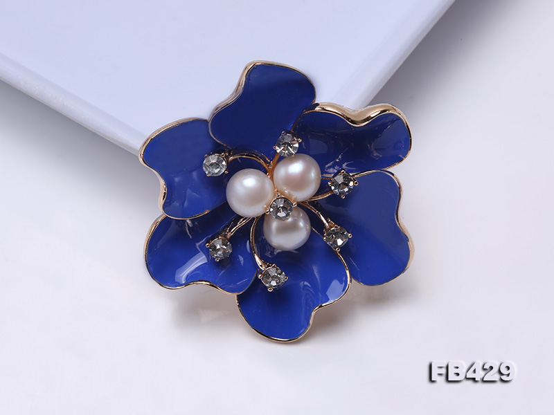 6.5mm Natural Freshwater Pearl Flower-shaped Gold Plated  Brooches Blue big Image 6