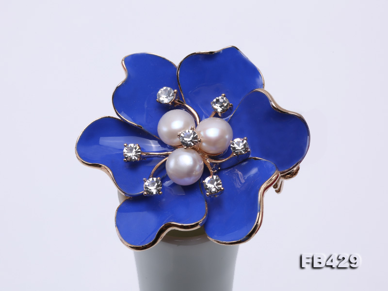 6.5mm Natural Freshwater Pearl Flower-shaped Gold Plated  Brooches Blue big Image 7