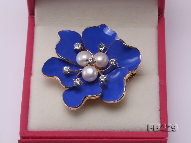 6.5mm Natural Freshwater Pearl Flower-shaped Gold Plated  Brooches Blue big Image 8