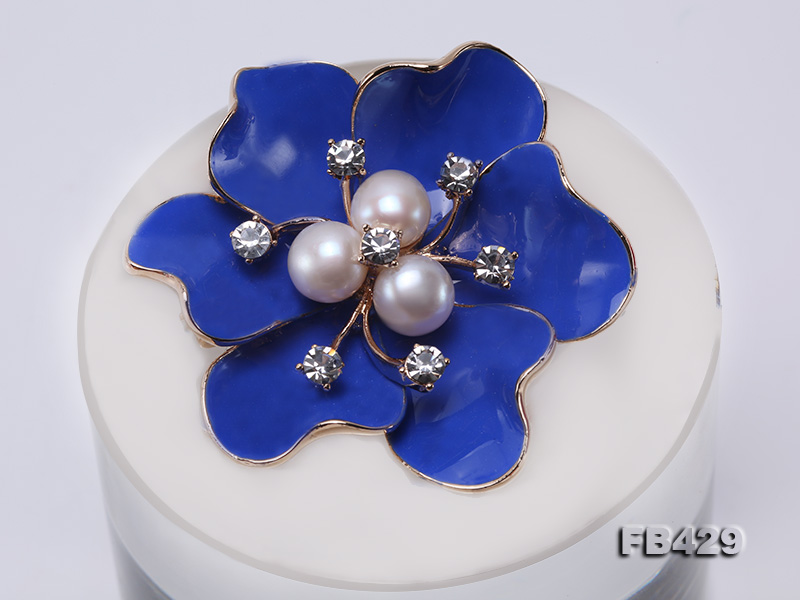 6.5mm Natural Freshwater Pearl Flower-shaped Gold Plated  Brooches Blue big Image 9
