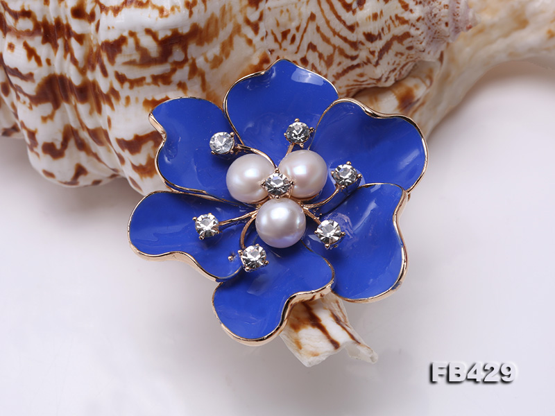 6.5mm Natural Freshwater Pearl Flower-shaped Gold Plated  Brooches Blue big Image 10