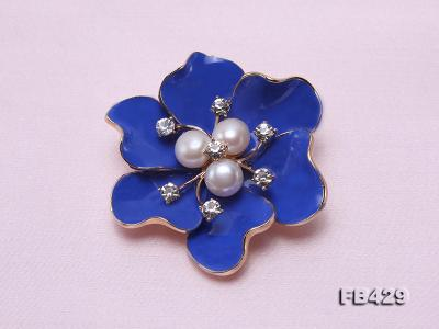 6.5mm Natural Freshwater Pearl Flower-shaped Gold Plated  Brooches Blue FB429 Image 3