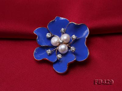 6.5mm Natural Freshwater Pearl Flower-shaped Gold Plated  Brooches Blue FB429 Image 4