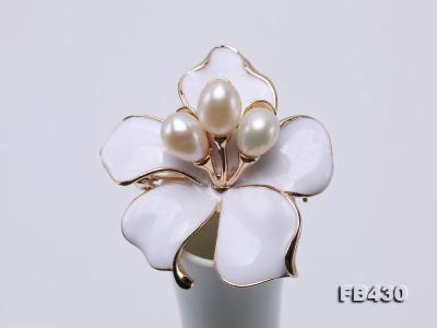 7-9mm White Natural Freshwater Gold Plated Flower-shaped Brooches FB430 Image 7
