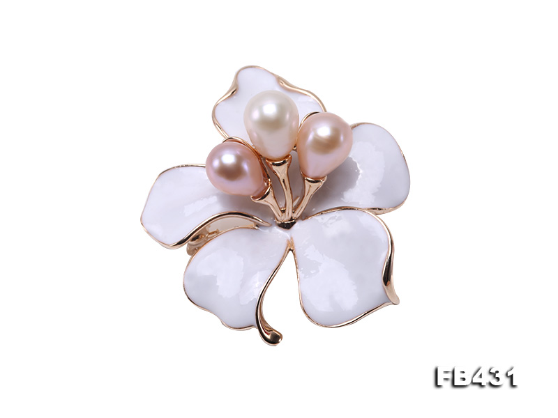 7-9.5mm Colorful Freshwater Pearl Flower-shaped Gold Plated Brooches  big Image 1