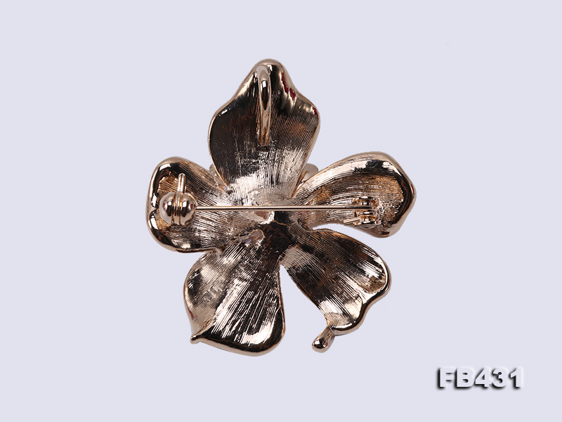 7-9.5mm Colorful Freshwater Pearl Flower-shaped Gold Plated Brooches  big Image 2