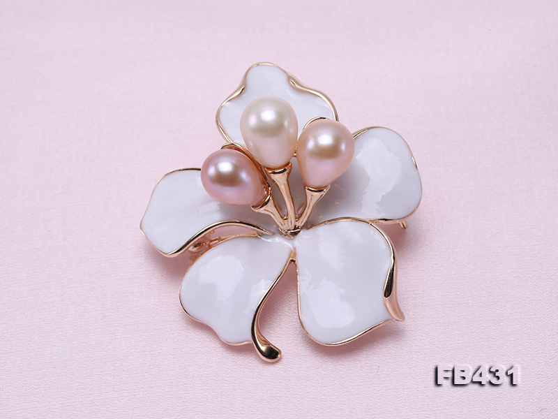 7-9.5mm Colorful Freshwater Pearl Flower-shaped Gold Plated Brooches  big Image 3