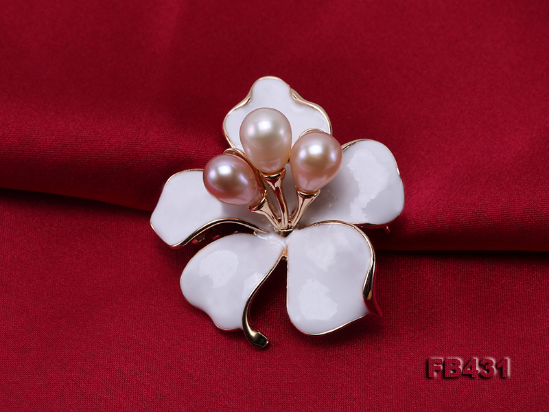 7-9.5mm Colorful Freshwater Pearl Flower-shaped Gold Plated Brooches  big Image 4