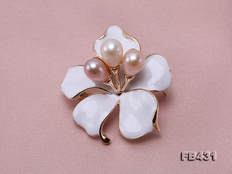 7-9.5mm Colorful Freshwater Pearl Flower-shaped Gold Plated Brooches  big Image 5