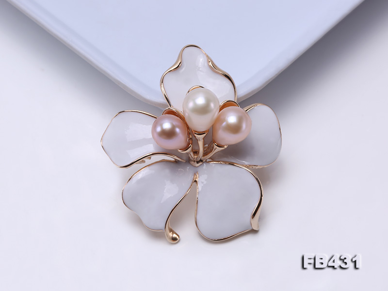 7-9.5mm Colorful Freshwater Pearl Flower-shaped Gold Plated Brooches  big Image 6