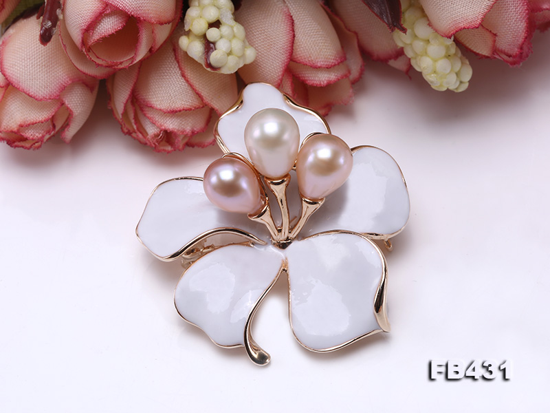 7-9.5mm Colorful Freshwater Pearl Flower-shaped Gold Plated Brooches  big Image 7