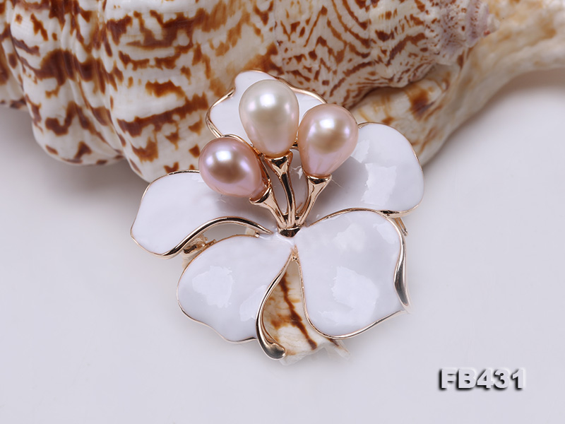 7-9.5mm Colorful Freshwater Pearl Flower-shaped Gold Plated Brooches  big Image 9