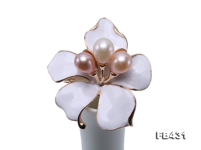 7-9.5mm Colorful Freshwater Pearl Flower-shaped Gold Plated Brooches  big Image 10