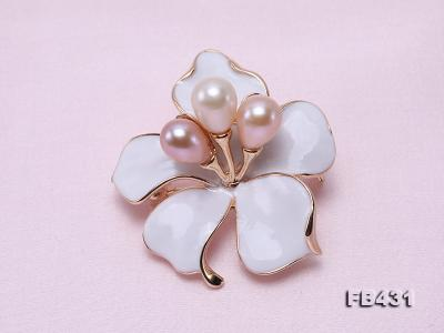 7-9.5mm Colorful Freshwater Pearl Flower-shaped Gold Plated Brooches  FB431 Image 3