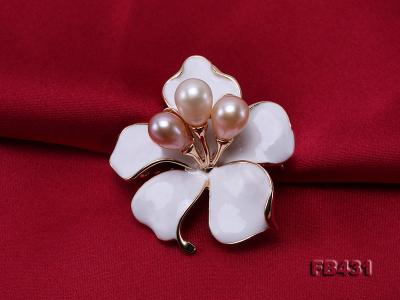 7-9.5mm Colorful Freshwater Pearl Flower-shaped Gold Plated Brooches  FB431 Image 4