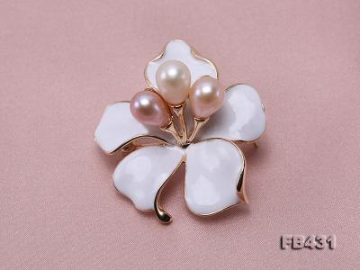 7-9.5mm Colorful Freshwater Pearl Flower-shaped Gold Plated Brooches  FB431 Image 5
