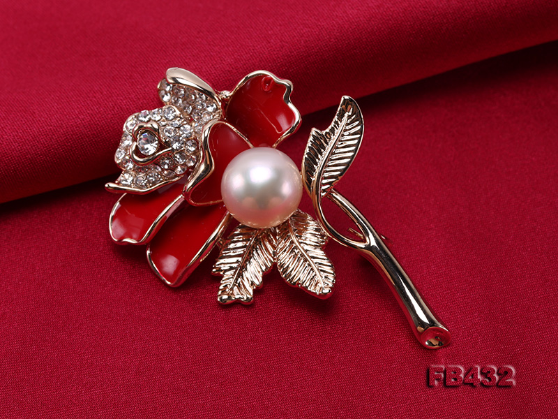 10.5mm Natural Freshwater Pearl Flower-shaped Gold Plated  Brooch big Image 4