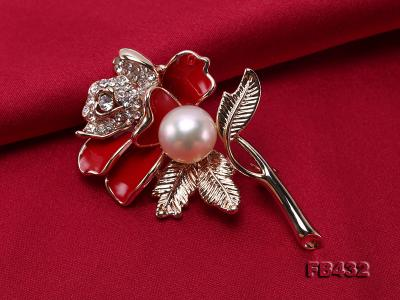 10.5mm Natural Freshwater Pearl Flower-shaped Gold Plated  Brooch FB432 Image 4